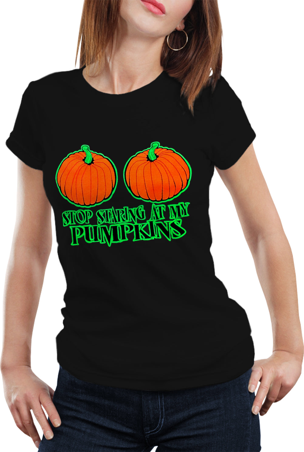 c3f2e4a36 Halloween Costume T-shirts - Stop Staring At My Pumpkins Girls T-shirt