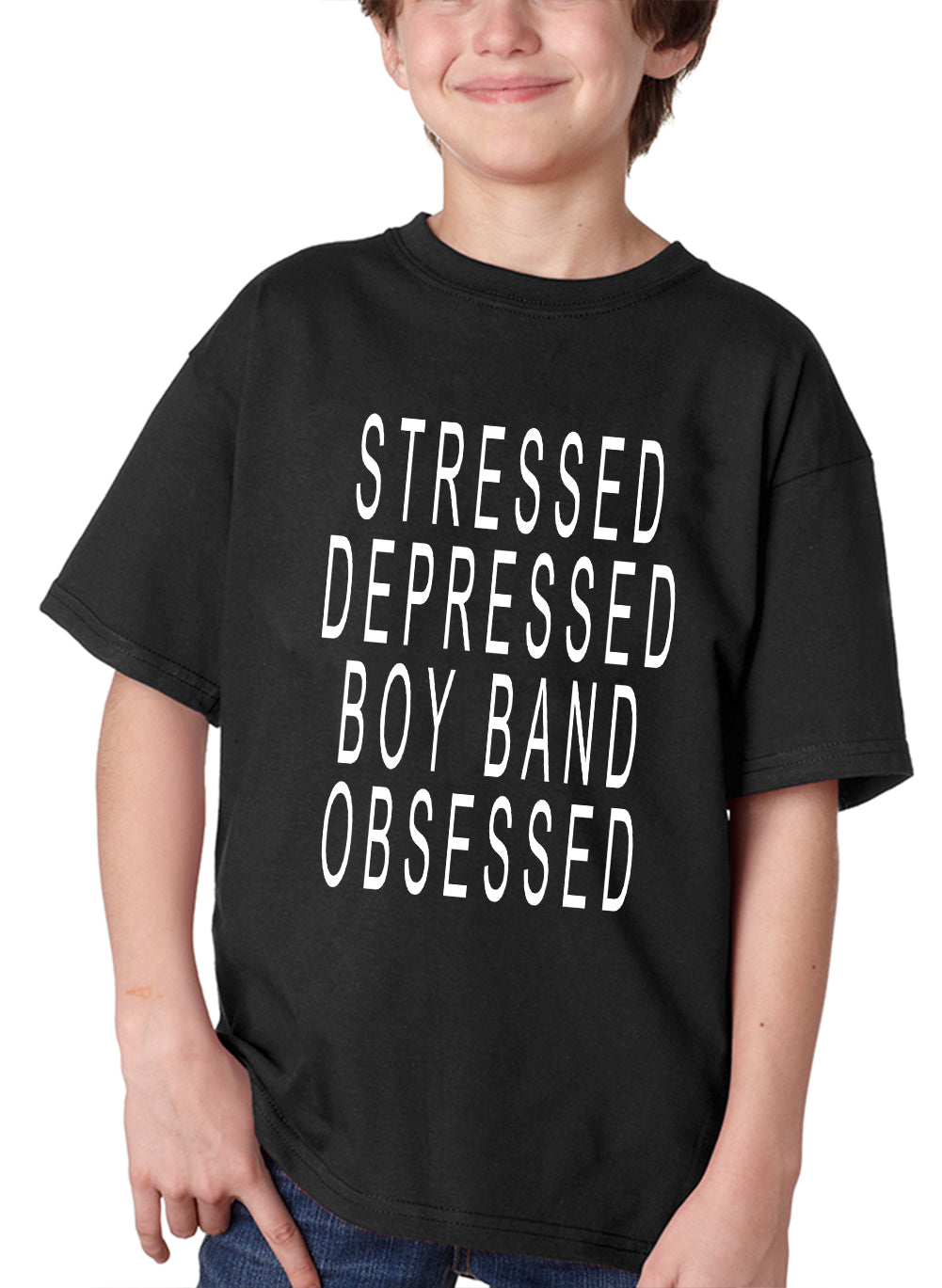 Stressed Depressed Boy Band Obsessed  Kid's T-shirt