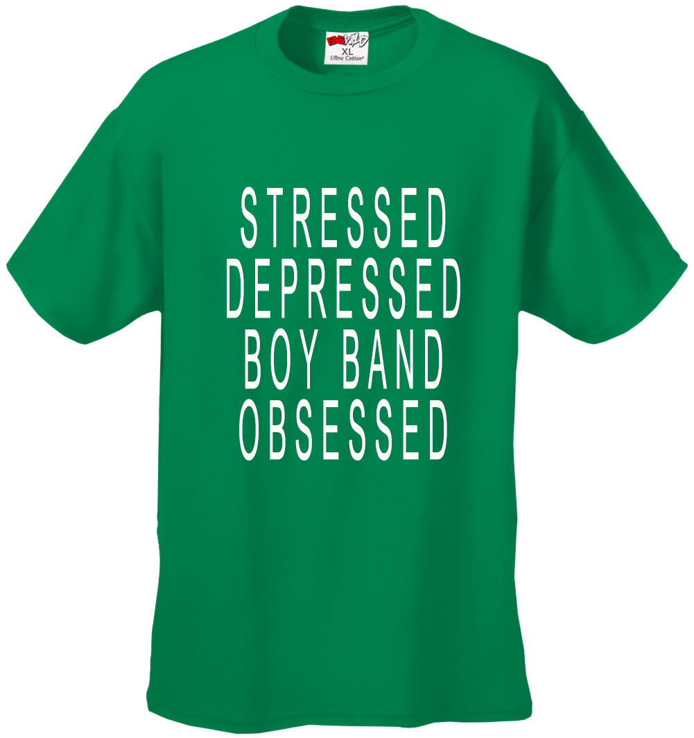 Stressed Depressed Boy Band Obsessed  Men's T-shirt