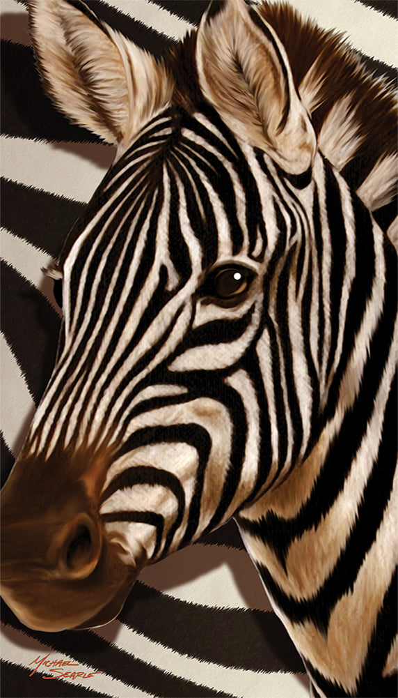Striped Zebra Velour Beach Towel