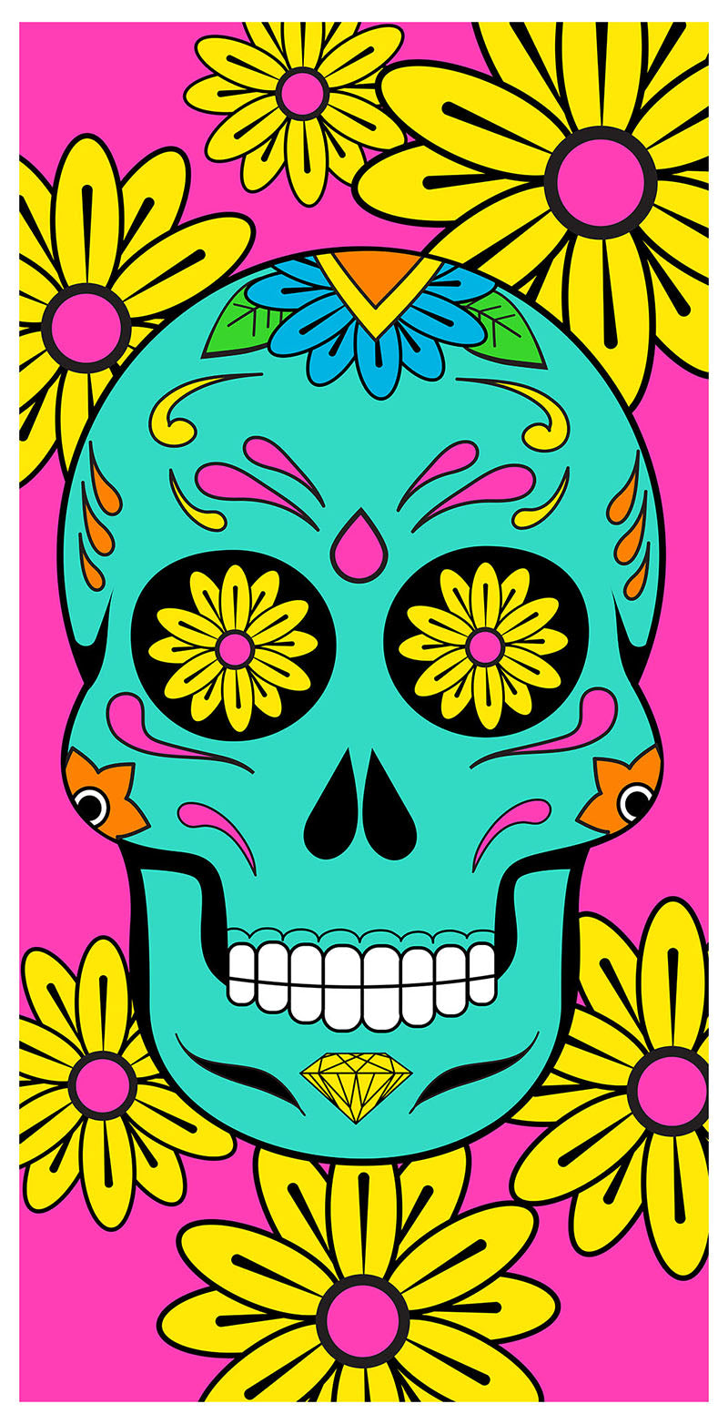 Sugar Skull Beach and Bath Towel (30 x 60 Inches)