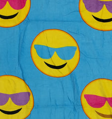 Sunglasses Smiley Face Emoji Velour Beach & Bath Towel (Blue)