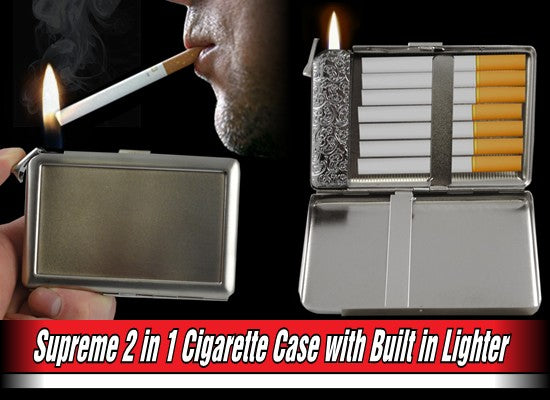 Supreme 2 in 1 Cigarette Case with Built in Lighter (For Regulars Size Cigarettes)