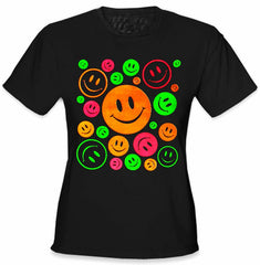Super Smiley Faces Neon Color Girls T-Shirt