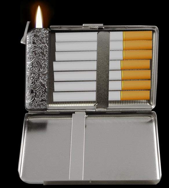 Supreme 2 In 1 Cigarette Case With Built In Lighter For
