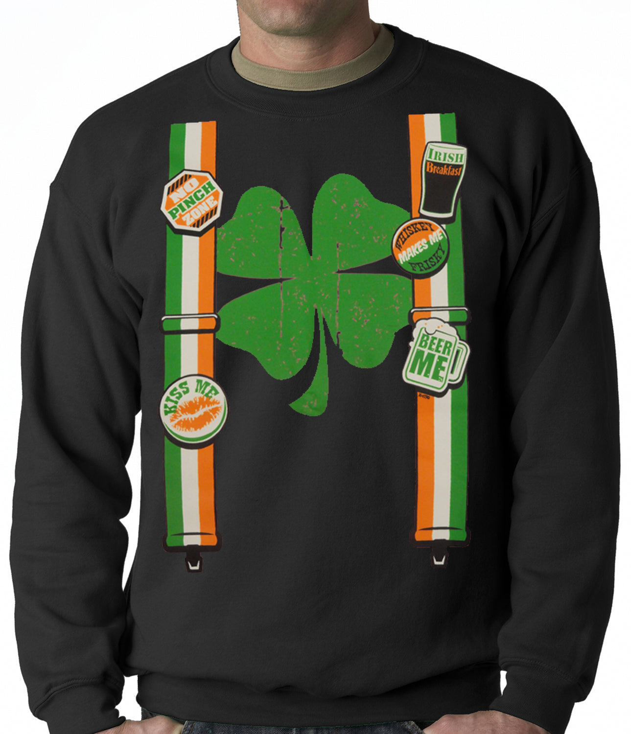 Suspenders with Shamrock Irish Costume Crewneck