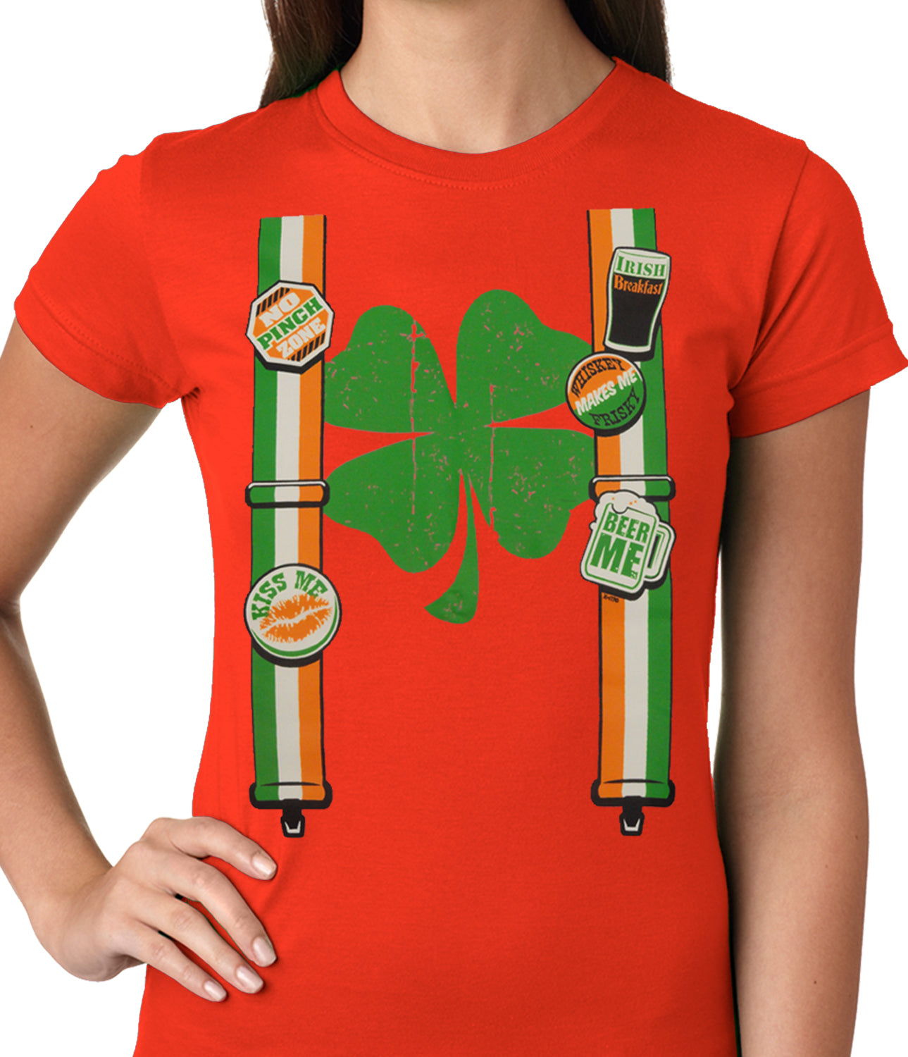Suspenders with Shamrock Irish Costume Girls T-shirt