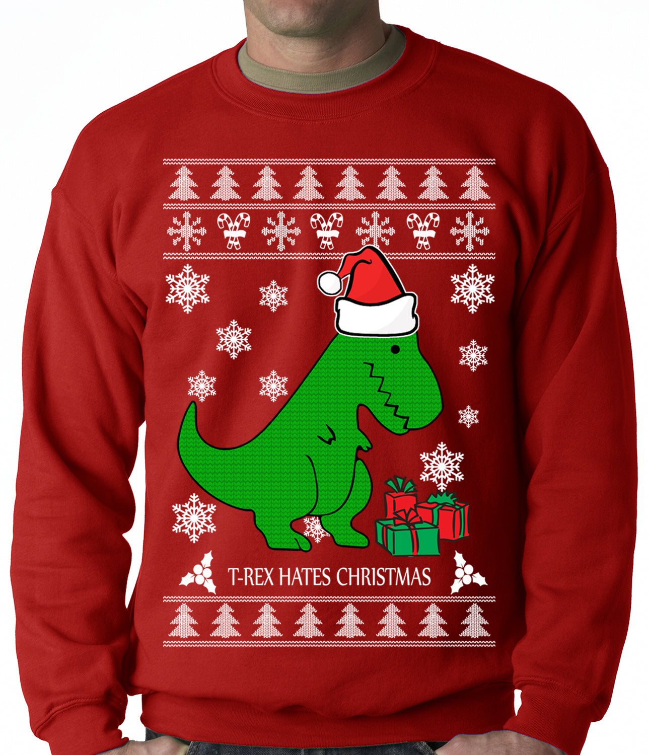 T Rex Ugly Christmas Sweater.T Rex Hates Christmas Ugly Christmas Sweater Adult Crewneck Sweatshirt