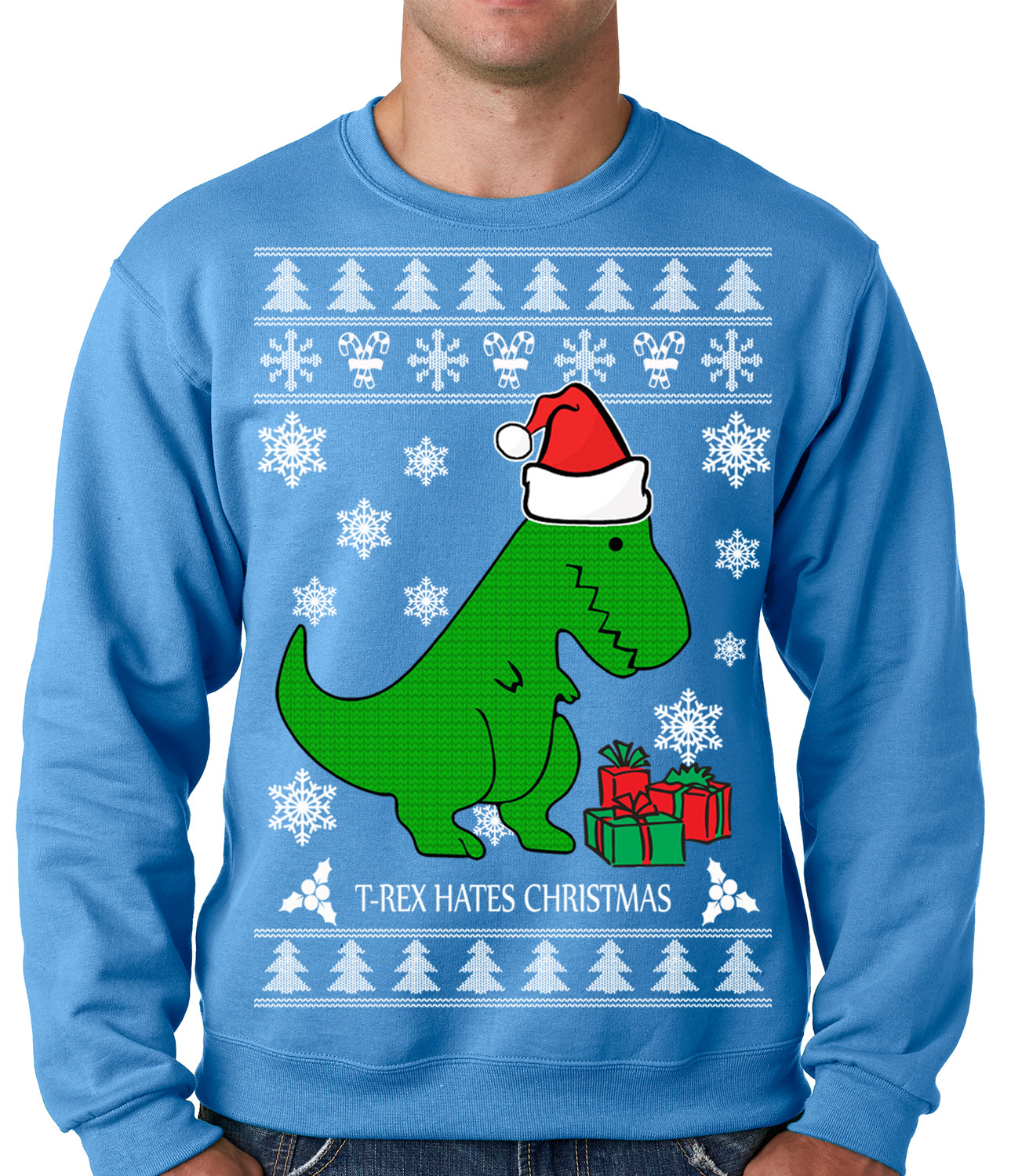 T-Rex Hates Christmas - Ugly Christmas Sweater Adult ...