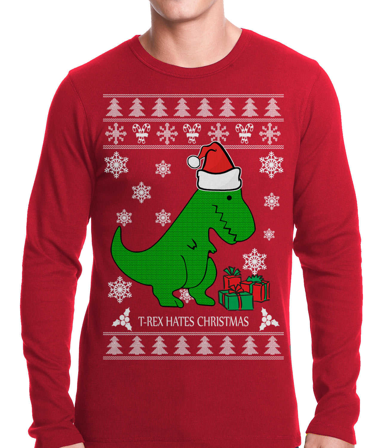T Rex Christmas Sweater.T Rex Hates Christmas Ugly Christmas Sweater Adult Thermal Shirt