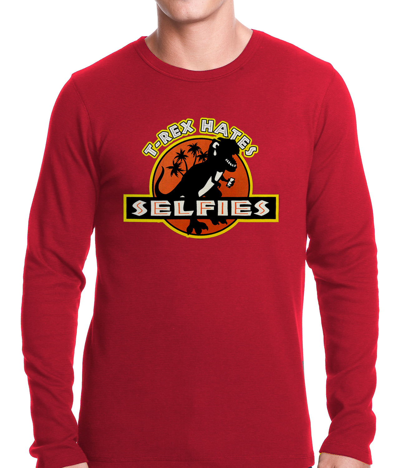 T-Rex Hates Selfies Funny Thermal Shirt