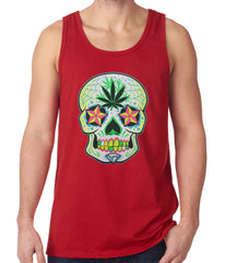 Tank Top - Pot Leaf Sugar Skull Tank Top