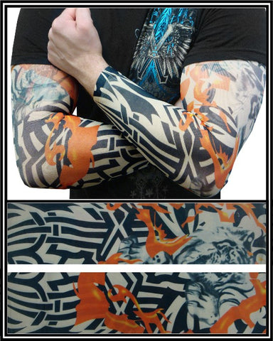 Tattoo Sleeves - Inferno Tribal Temporary Tattoo Sleeves (Pair)