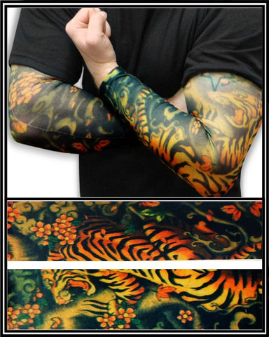 Tattoo Sleeves - Tiger and Lotus Temporary Tattoo Sleeves (Pair)