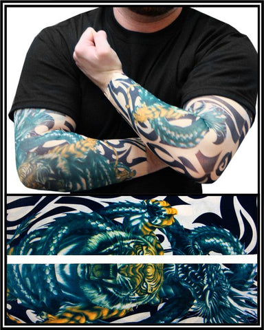 Tattoo Sleeves - Tiger vs. Dragon Temporary Tattoo Sleeves (Pair)