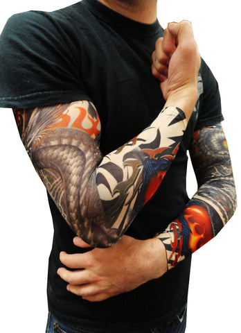 Tattoo Sleeves - Tribal Dragon Heart Tattoo Sleeves (Pair)