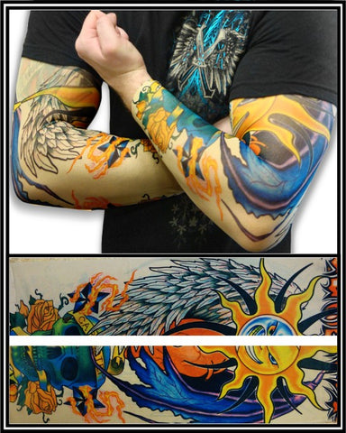 Tattoo Sleeves - Two Faced Sun Temporary Tattoo Sleeves (Pair)