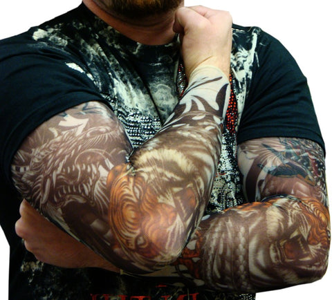 Tattoo Sleeves - Vicious Tigers and Dragon Tattoo Sleeves (Pair)
