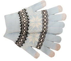 Text Gloves - Pair of Texting Gloves For Touch Screen Phones (Light Blue Snow Flake)