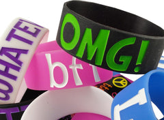 Text Sayings Designer Rubber Saying Bracelet