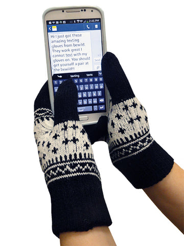 Texting Gloves - Black SnowFlake Pair Of Gloves For Touch Screen