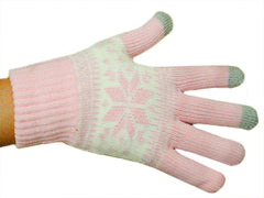 Texting Gloves - Light Pink SnowFlake  Pair of Gloves For Touch Screen