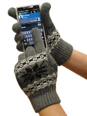 Texting Gloves - Pair of Gloves for Touch Screens (Charcoal Grey Snow Flake)