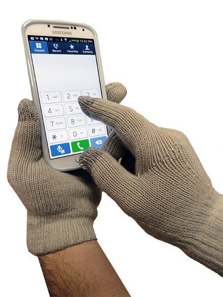 Texting Gloves - Pair of Gloves for Touch Screens (Khaki)
