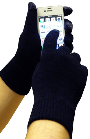 Texting Gloves - Pair of Gloves for Touch Screens (Navy Blue)
