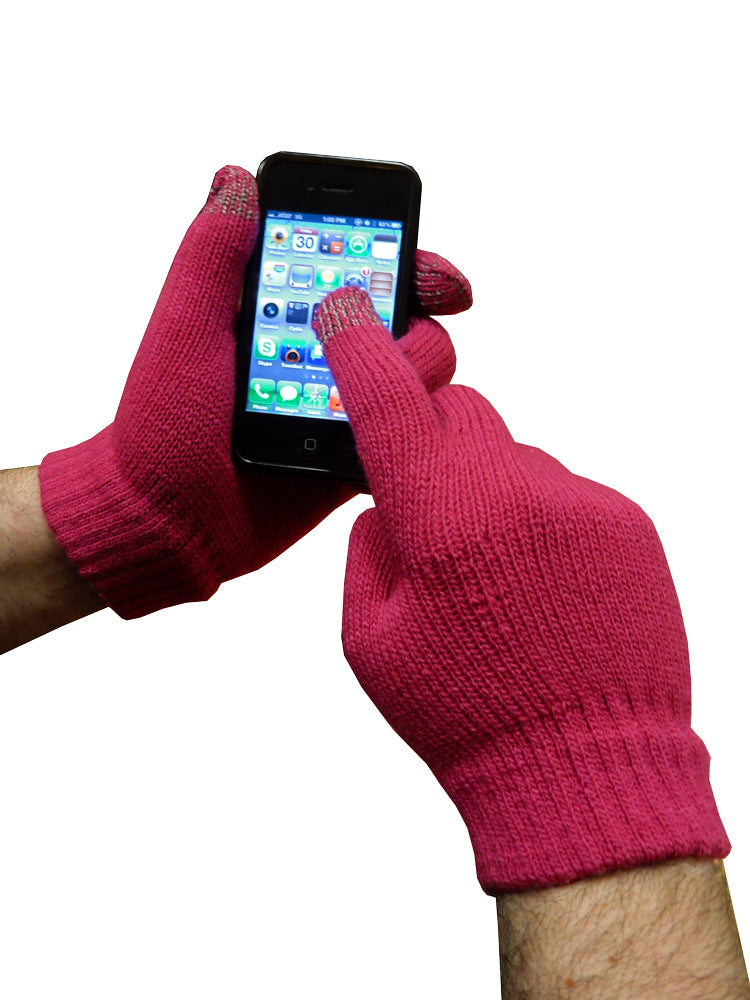 Texting Gloves - Pair of Gloves for Touch Screens (Pink)