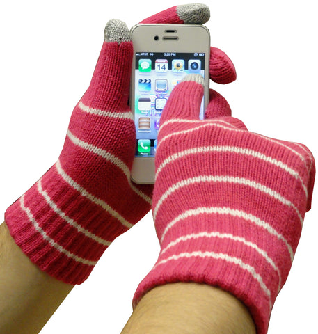 Texting Gloves - Pair of Gloves for Touch Screens (Pink w/ White Stripes)