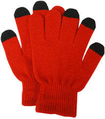 Texting Gloves - Pair of Gloves for Touch Screens (Red/Black)