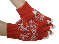 Texting Gloves - Pair of Gloves for Touch Screens (Red Reindeer)