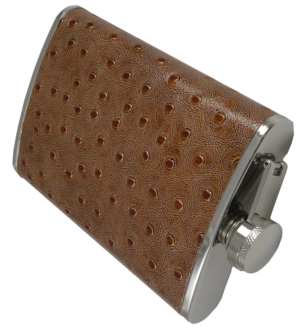 Textured 8oz Brown Leather Flask