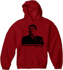 The Best Social Program Is A Job Ronald Reagan Adult Hoodie
