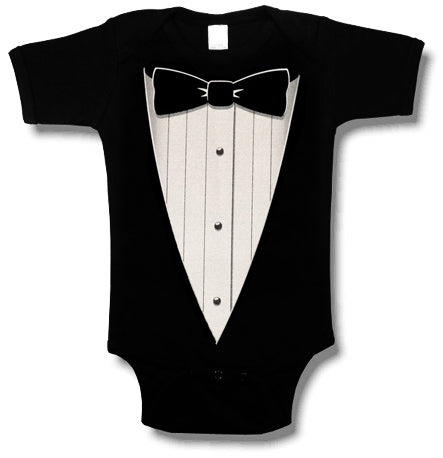 "The ""Classic Black Tie"" Tuxedo Infant Onesies (Black)"