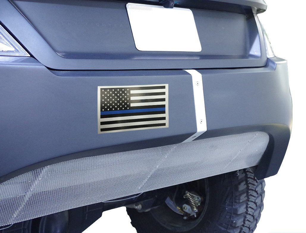 2 Pack of Thin Blue Line Flag Rectangle 3x5 Inch White Car Magnets