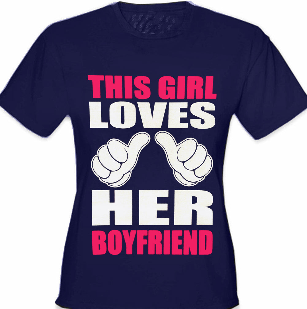 This Girl Loves Her Boyfriend Cartoon Hands Girl's T-Shirt