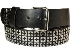 Three Row Studded Iron Cross Leather Belt