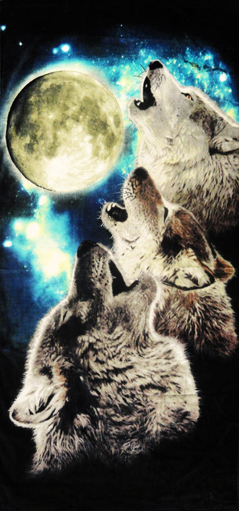 "Three Wolves Howling Under The Moon Beach & Bath Towel (30"" x 60"")"