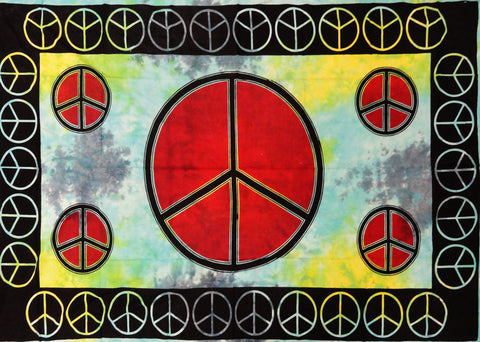 Tie Dye Peace Sign Fine Wall Tapestry