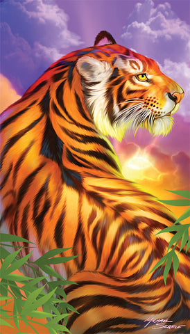 3342c9199137 Tiger in the Sunset Velour Beach Towel