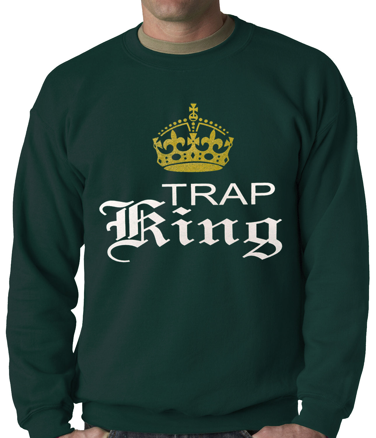 Trap King Golden Crown Adult Crewneck