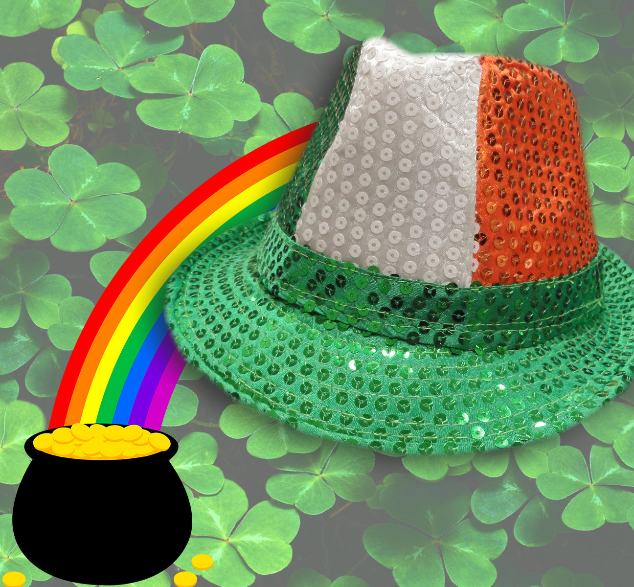 Tri-Color Fedora Hat - Irish Sequin Party Hat