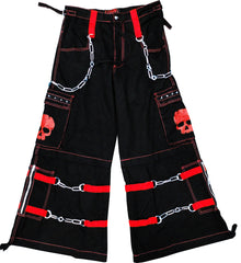 "Tripp NYC ""Electro Skull"" Bondage Pants (Black/Red)"