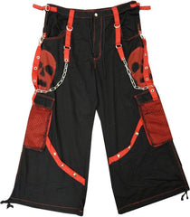 "Tripp NYC ""Ghost Skull"" Bondage Pants (Black / Red)"