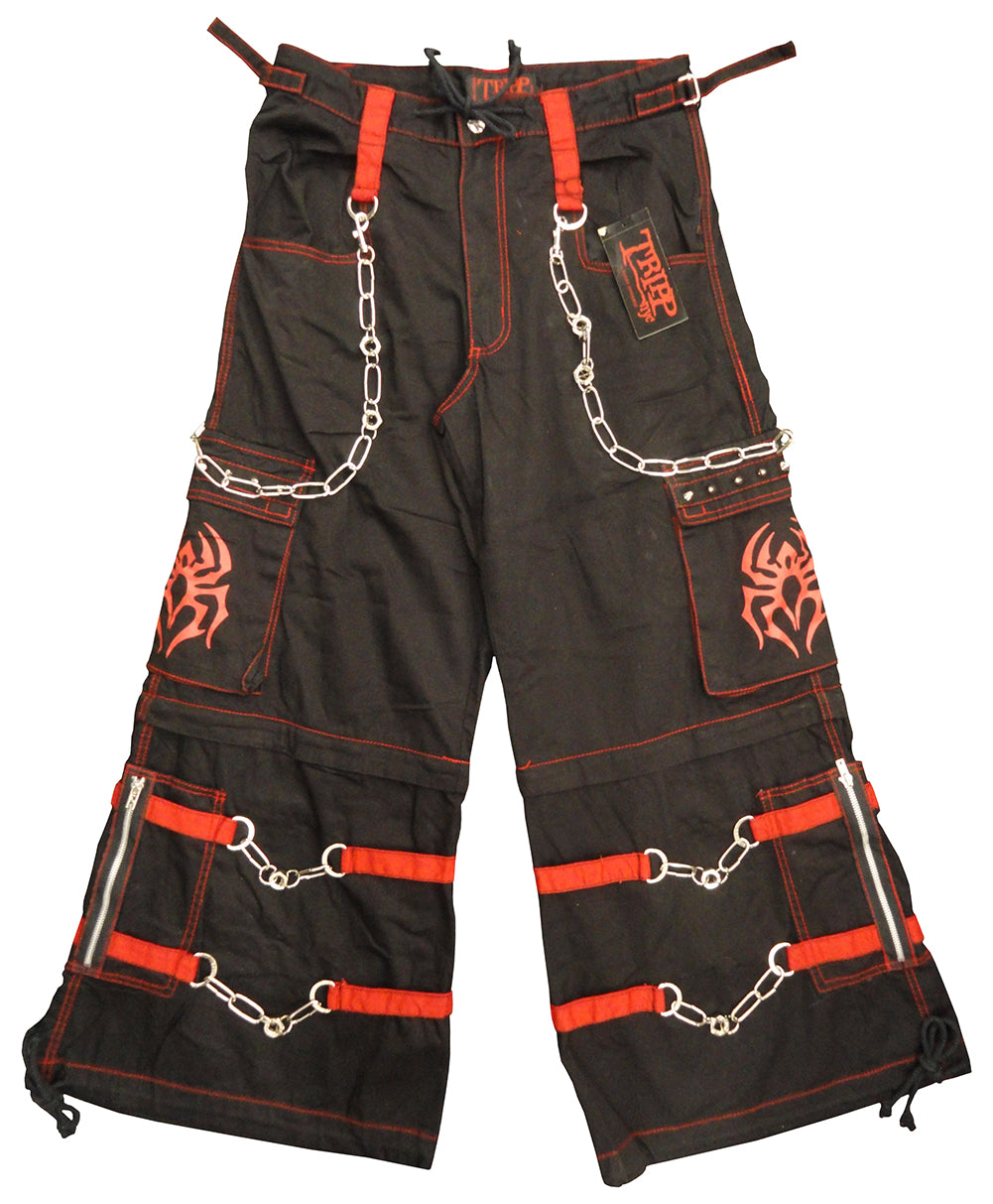 "Tripp NYC ""Spider"" Bondage Pants With Zip Off Legs to Shorts (Black/Red)"