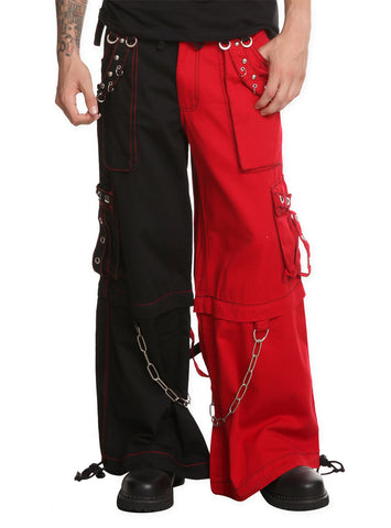 Tripp Red & Black Two Tone Split Leg Pants with Zip Off Legs to Shorts