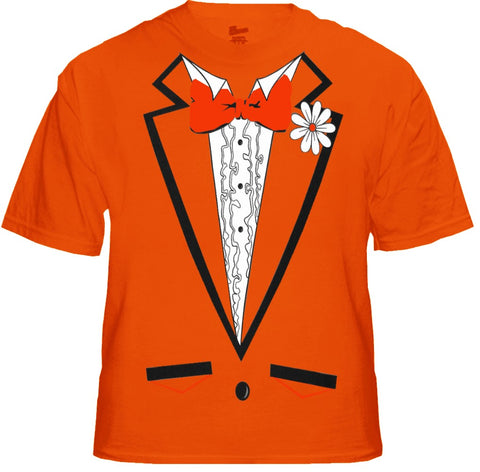 Tuxedo Shirt - Men's Orange Tuxedo T-Shirt With Ruffles