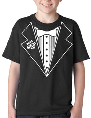 Tuxedo Shirts for Kids - Tuxedo With Flower Kids T-Shirt